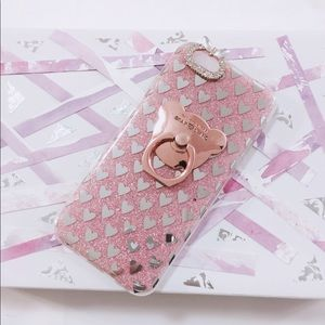 iPhone 7 Pink Glitter Bear Ring Silver Hearts Case